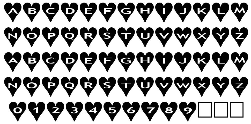 AlphaShapes Hearts font