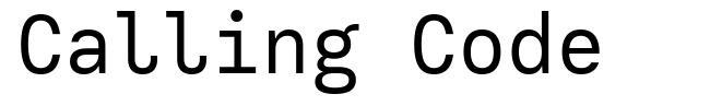 Calling Code font