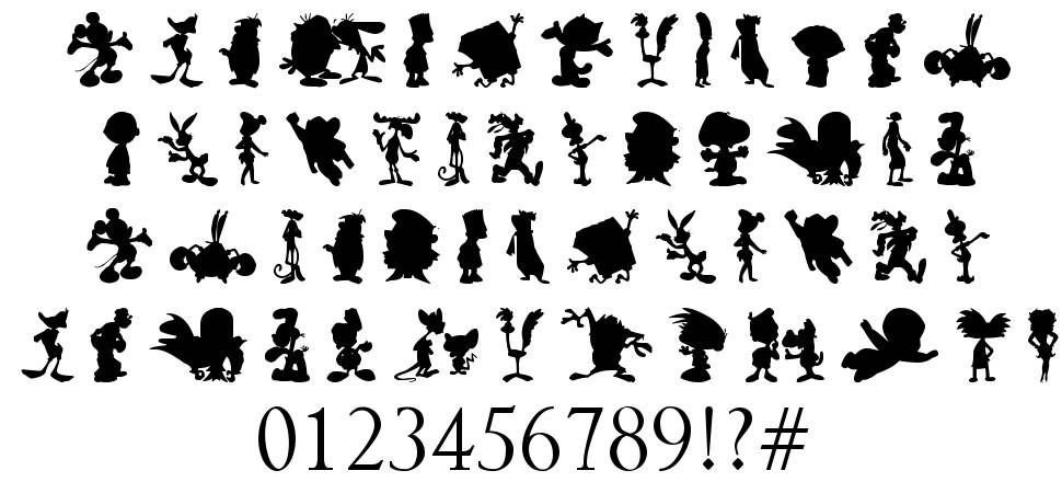 Cartoon Characters With 5 Letters In Their Name : Cartoon silhouettes fonte