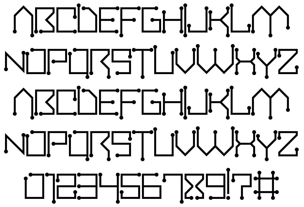 circuitboard font by darrell flood