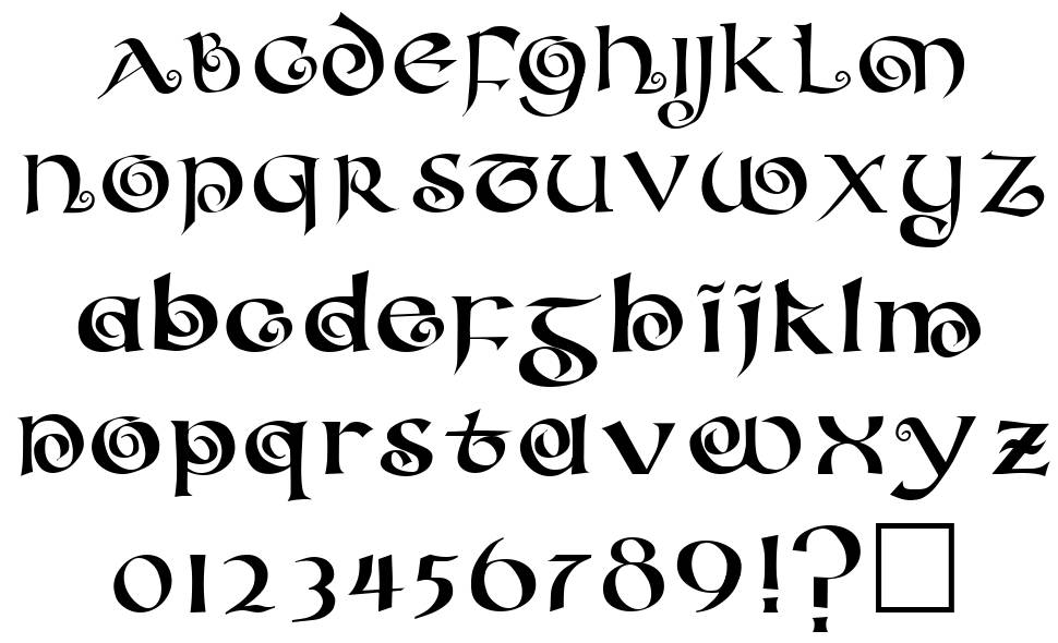 Coiled uncial font by unknown fontriver