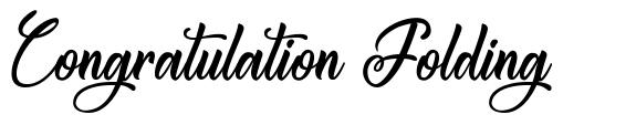Congratulation Folding font
