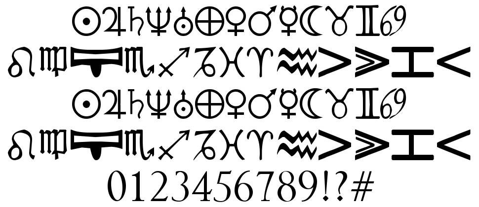 Cryptic Zodiac font