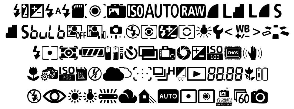 Digital Camera Symbols font