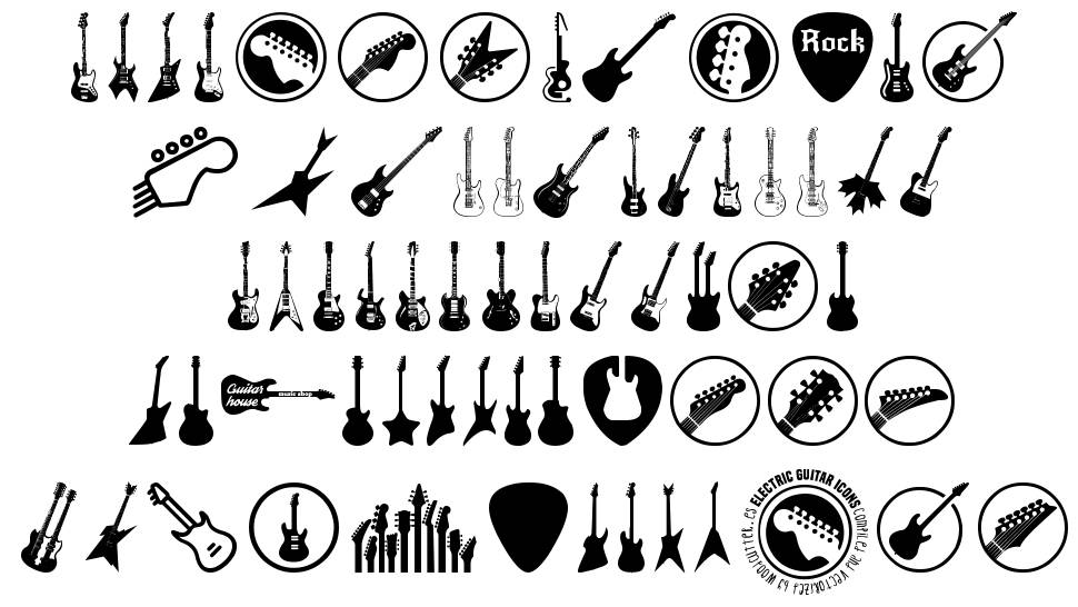 electric guitar icons font by woodcutter