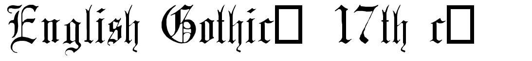English Gothic, 17th c. 字形
