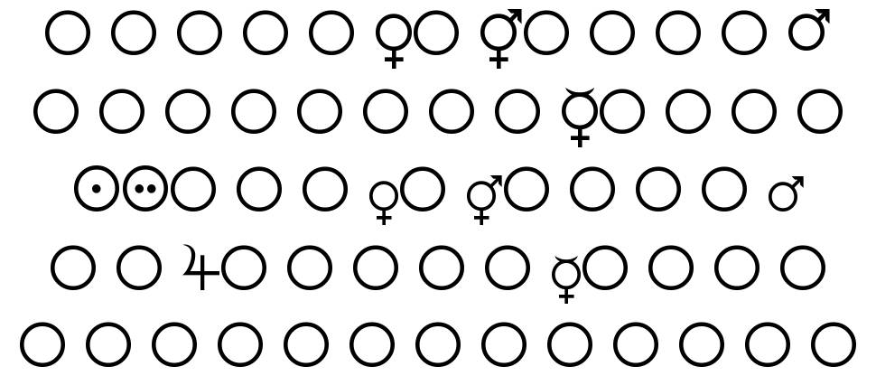 Female and Male Symbols font