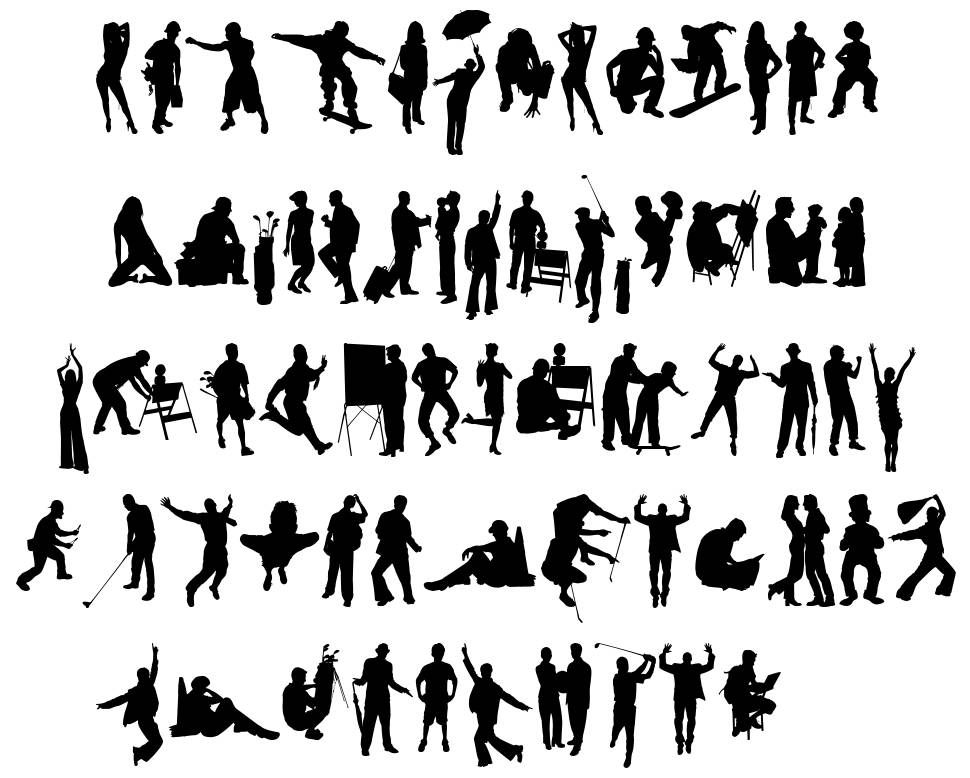 Human Silhouettes Free Seven font