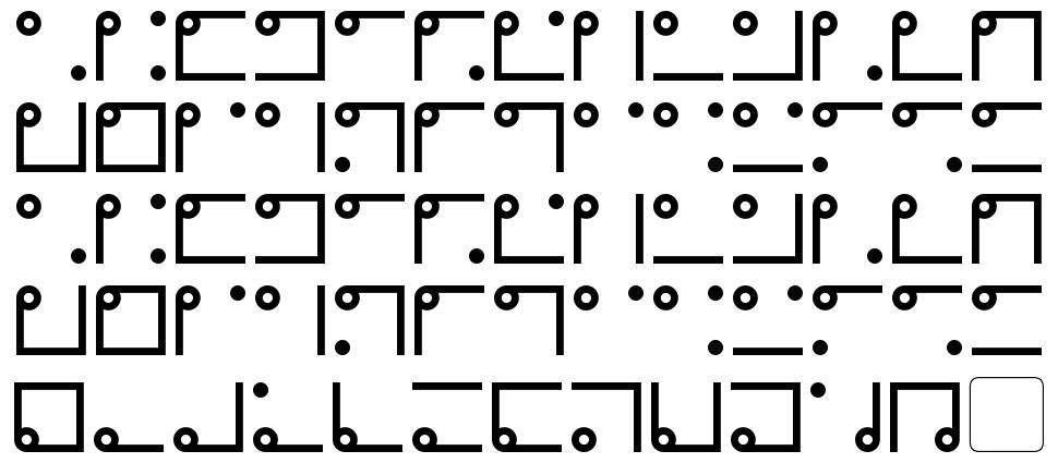 Nyctographic font