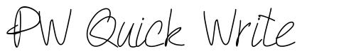 PW Quick Write font