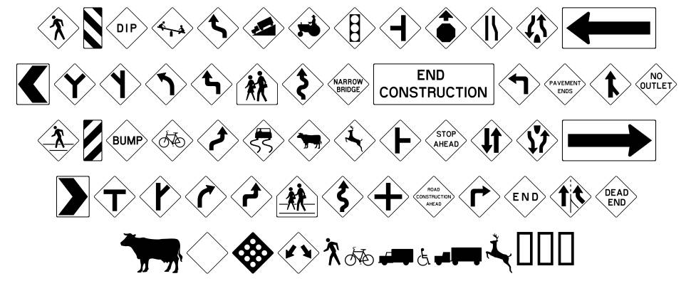 RoadSign Warning Font By Benn Coifman