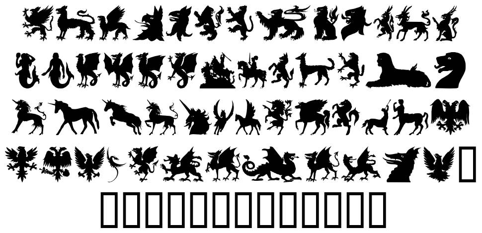 SL Mythological Silhouettes font