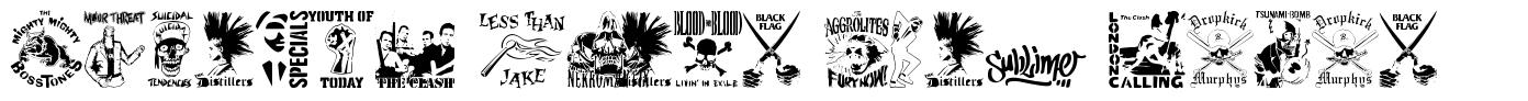 Stencil Punks Band Logos