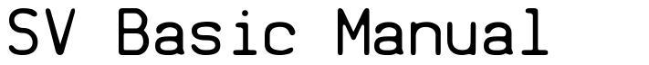 SV Basic Manual font
