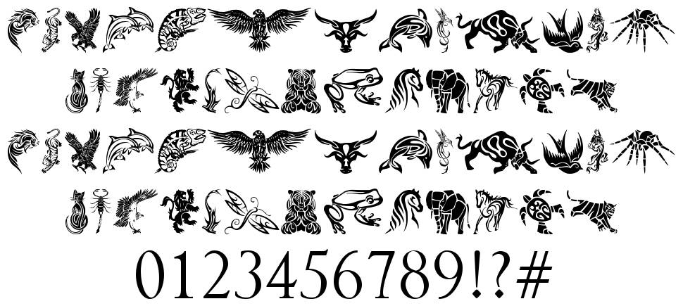 tribal animals tattoo designs font by tattoowoo fontriver. Black Bedroom Furniture Sets. Home Design Ideas