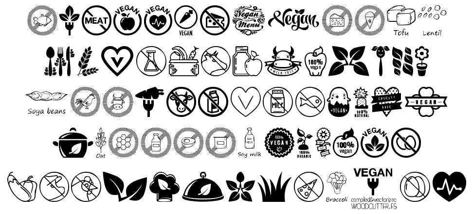 Vegan Icons шрифт
