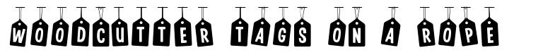 Woodcutter Tags on a Rope font
