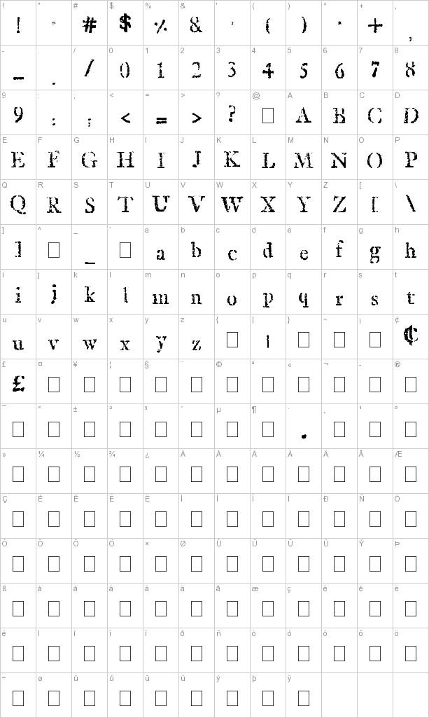 stamp font front